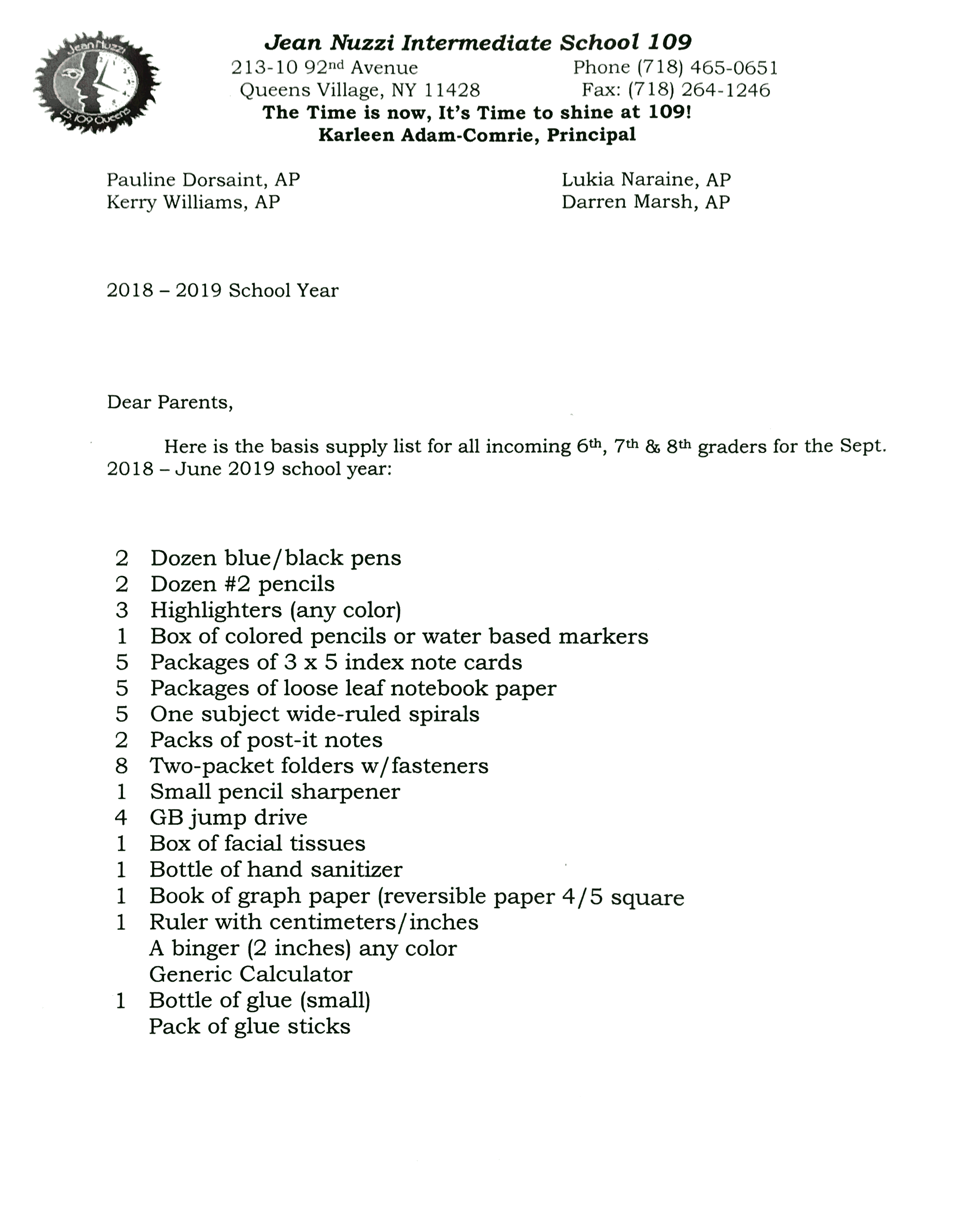 Message from Ms  Comrie: MS 109 Supply List | P S 135Q - The