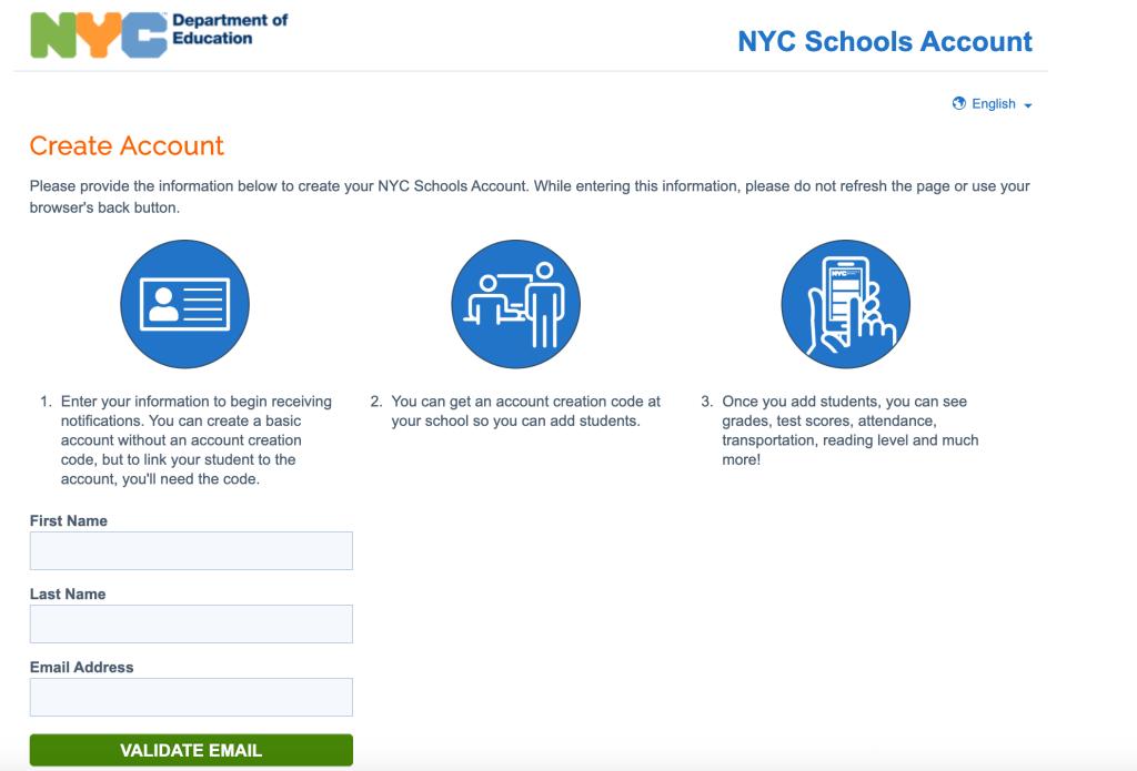 Screenshot of NYC Schools Account