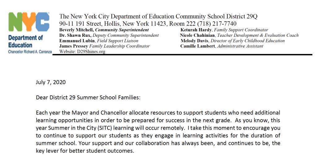 Superintendent Letter