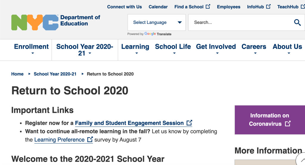 NYC Return to School 2020 Survey