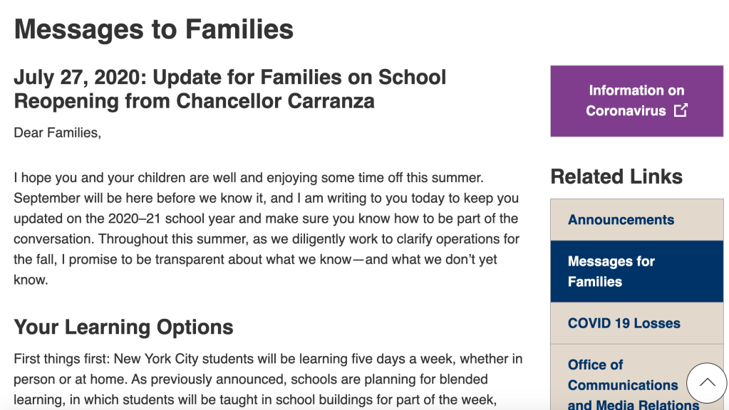 Message to Families